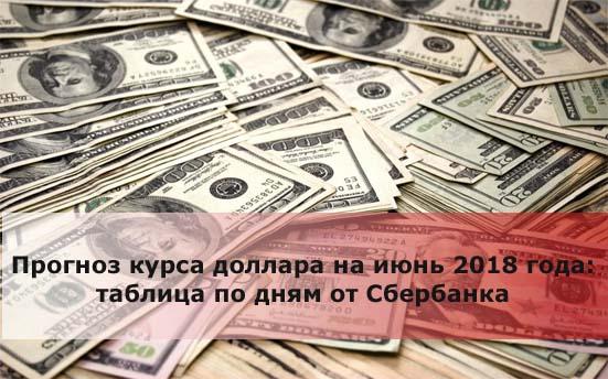 Прогноз курса доллара на июнь 2018 года: таблица по дням от Сбербанка