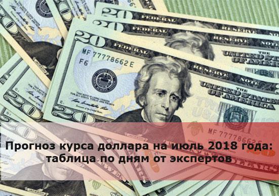 Прогноз курса доллара на июль 2018 года: таблица по дням от экспертов