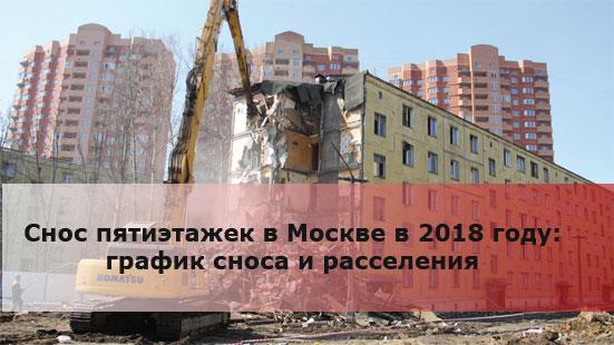 Снос пятиэтажек в Москве в 2018 году: график сноса и расселения