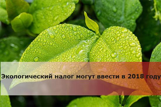 Экологический налог могут ввести в 2018 году