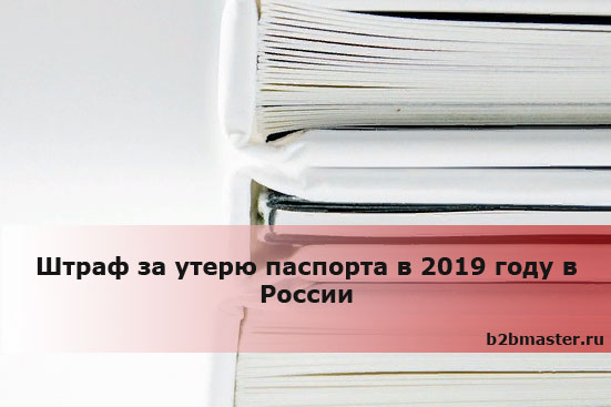 Штраф за утерю паспорта в 2019 году в России