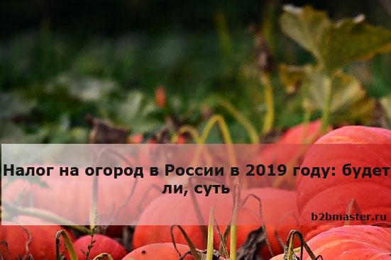 Налог на огород в России в 2019 году будет ли, суть