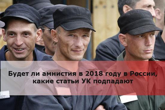 Будет ли амнистия в 2018 году в России, какие статьи УК подпадают
