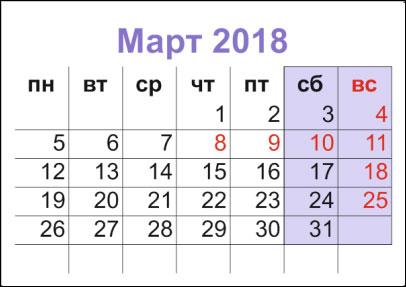 Как отдыхаем на 8 марта 2018 года и какие выходные дни переносят