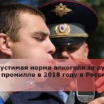 Допустимая норма алкоголя за рулем в промилле в 2018 году в России