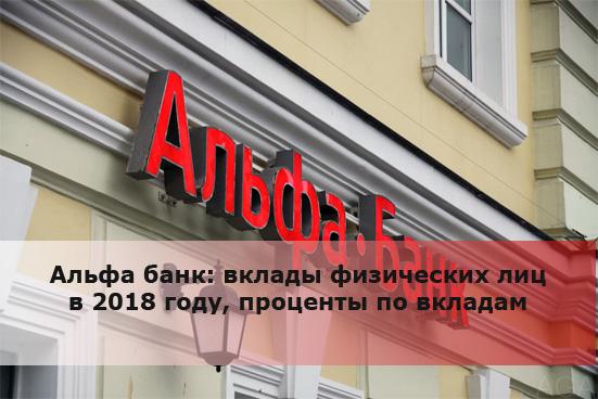 Альфа банк: вклады физических лиц в 2018 году, проценты по вкладам