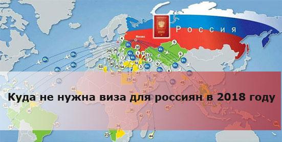 Куда не нужна виза для россиян в 2018 году