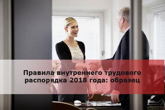 Правила внутреннего трудового распорядка 2018 года: образец