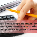 Календарь бухгалтера на июль 2018 года: сроки сдачи отчетности, таблица со сроками подачи отчетов