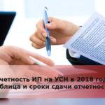 Отчетность ИП на УСН в 2018 году: таблица и сроки сдачи отчетности
